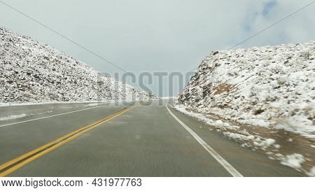 Road Trip To Death Valley, Driving Auto, Snow In California, Usa. Hitchhiking Winter Traveling In Am