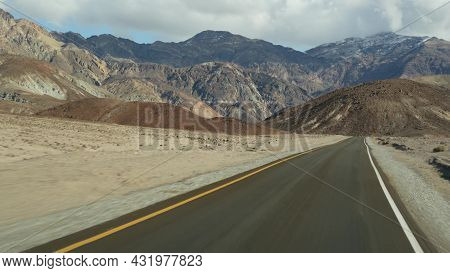 Road Trip To Death Valley, Artists Palette Drive, California Usa. Hitchhiking Auto Traveling In Amer