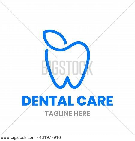 Herbal Dent Logo Design Template. Abstract Tooth And Leaf Outline Sign. Stock Vector Illustration.
