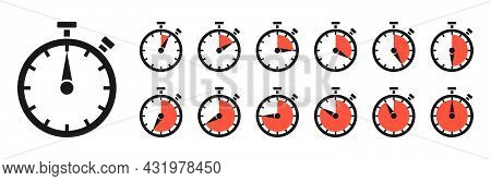 Timer, Clock, Stopwatch Isolated Set Icons With Different Time. Countdown Timer Symbol Icon Set. Spo
