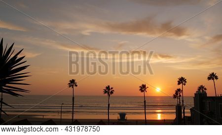 Palms Silhouette Sunset Sky, California Aesthetic. Oceanside Usa. Tropical Pacific Ocean Beach Atmos