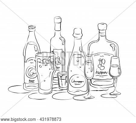Bottle And Glass Beer Vodka Champagne Liquor Together In Hand Drawn Style. Beverage Outline Icon. Re