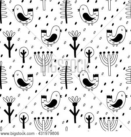 Bird Seamless Pattern. Hand Drawn Doodle Scandinavian Forest Bird, Black And White Colors, Cute Scan