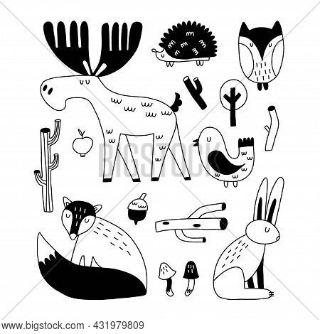 Forest Animals. Hand Drawn Doodle Scandinavian Style Set, Cute Scandi Elk And Fox, Bird And Hare. Li