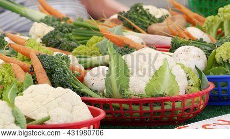 Organic Vegetables On Counter, Fresh Local Produce Homegrown Raw Veggies On Marketplace Stall. Healt