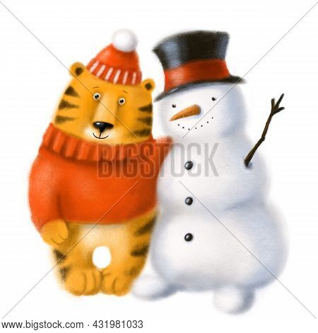 Cute Tiger The Symbol Of 2022 With Snowman, Warm Winter Hugs, Children's Illustration With Cartoon C