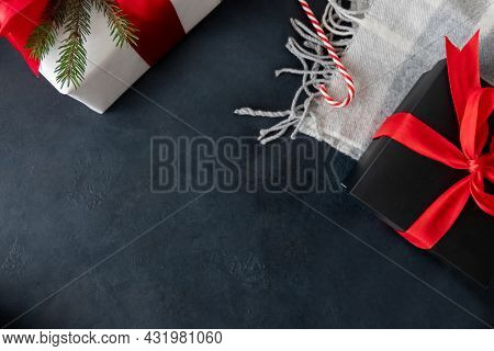 Christmas Eve. Home Celebration. Winter Holidays Present. White Black Gift Boxes With Red Ribbon Bow
