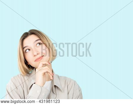 Make Decision. Curious Woman. Hesitation Choice. Advertising Background. Thoughtful Happy Lady Hand