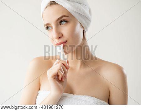 Skincare Beauty. Spa Woman. Facial Treatment Cosmetic. Nourishing Treatment. Pretty Lady Holding Fac
