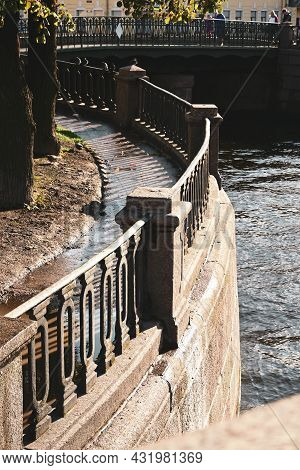 Architectural Details Of The Old City, Bridges And Canals Of The Old City Of St. Petersburg. Fencing