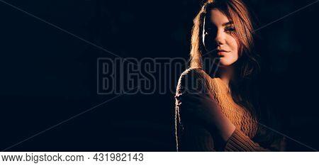 Mysterious Beauty. Woman Portrait. Feminine Energy. Gentle Feeling. Tender Lovely Young Lady Hugging