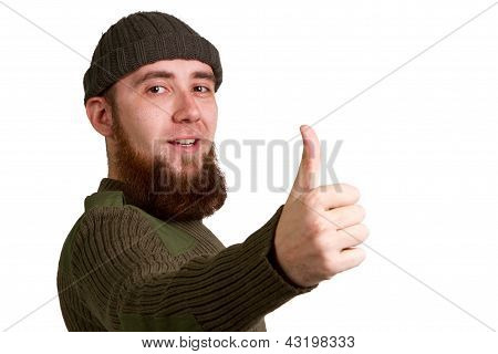Young Guy Showing A Success Sign