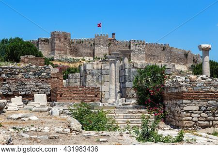 Selcuk, Turkey - June 4, 2021: These Are The Ruins Of The Basilica Of St. John The Evangelist And By