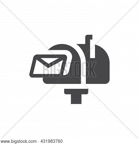 Mailbox With Letter Black Vector Icon. Retro Mail Or Post Box Symbol.