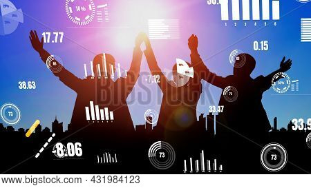 Achievement And Business Goal Success Conceptual - Creative Business People With Icon Graphic Interf
