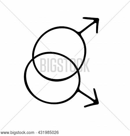 Doodle Gender Symbol. Two Crossed Symbols Of Mars. Outline Male Sign Isolated On White Background. M