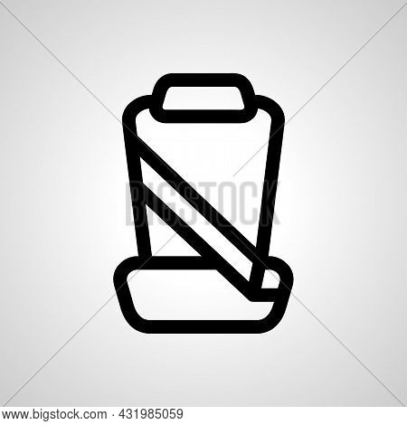 Car Seat With Seat Belts Vector Line Icon. Car Seat With Belts Linear Outline Icon
