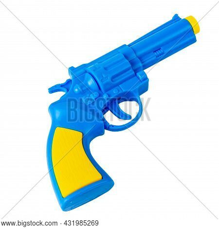 Toy Pistol. The Pistol Is Blue. Pistol Isolated On White. Isolated Background.