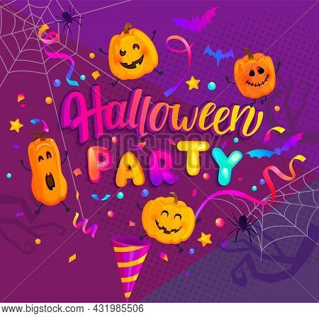 Halloween Banner For Kids With Invite To Happy Party Holiday With Monster Pumpkins, Bat, Spiders And