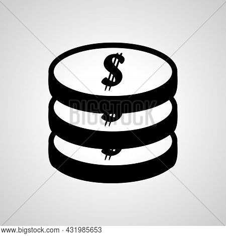 Coins Stack Simple Icon. Money Stacked Coins Vector Icon