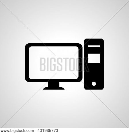 Desktop Vector Icon, Desktop Pc Simple Isolated Icon
