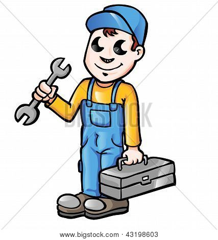 Happy cartoon plumber or mechanic with spanner