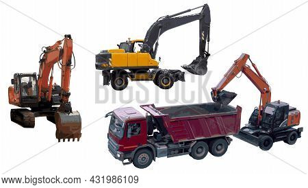 A Wheeled Excavator Loads The Earth Into A Dump Truck, Top View. Wheeled Excavator, Side View. Crawl