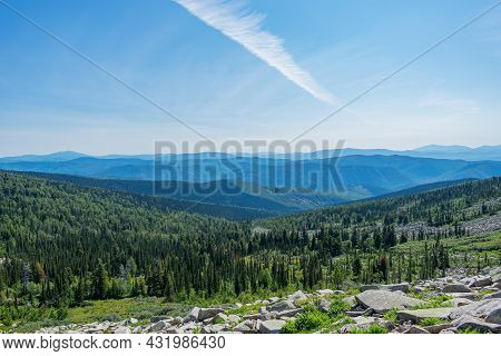 Beautiful View Of The Mountains And Coniferous Forest Under A Clear Sky