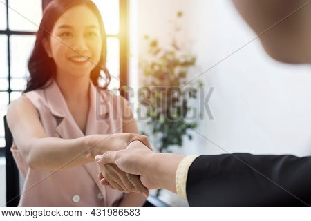 Job Interview. Business People Partner Shaking Hand After Business Signing Contract Desk In Meeting