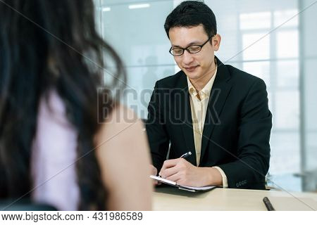 Job Interview. Human Resource People Interview With Woman Before Business Signing Contract Desk In M