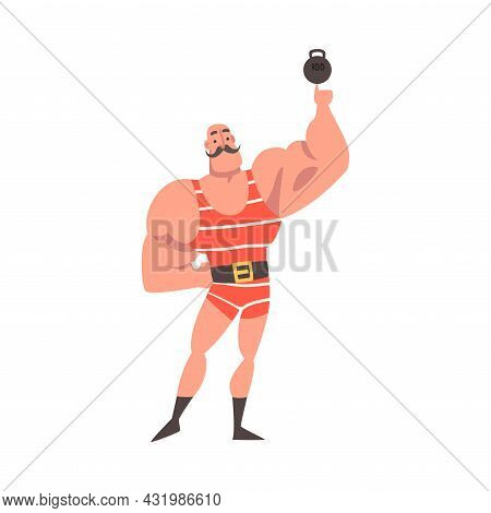 Mustached Strongman Lifting Kettlebell With Finger As Circus Artist Character Performing On Stage Or