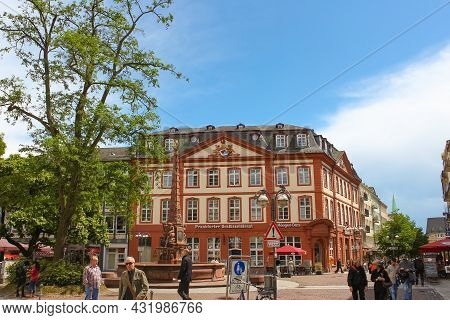Frankfurt, Germany - June 15, 2016: The Typical Architecture In Old Town