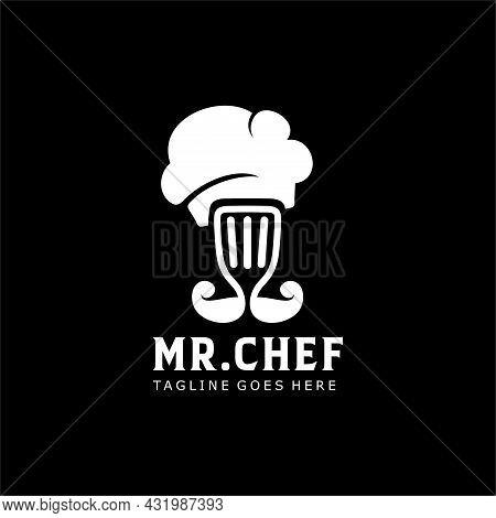 Chef Logo Spatula And Mustache Symbol Mister Chef Illustration Logo. Mr Chef And Food Restaurant Log