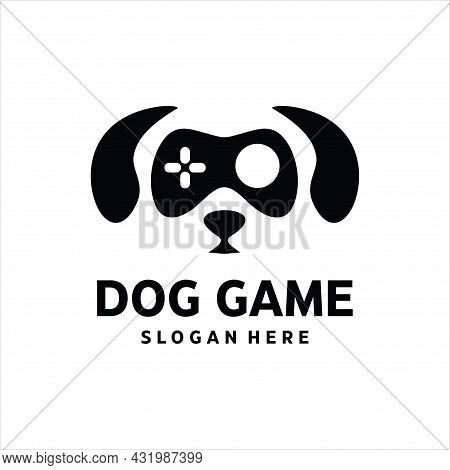Dog Game Logo Vector Image. Illustration Abstract Dog Gaming With Game Stick Face Logo Design Vector