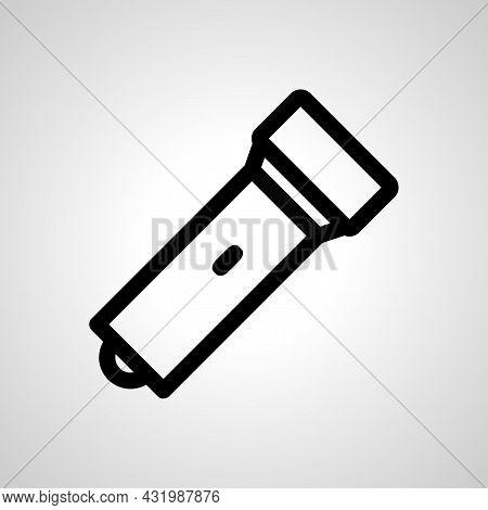 Flashlight Line Icon, Flashlight Simple Isolated Icon