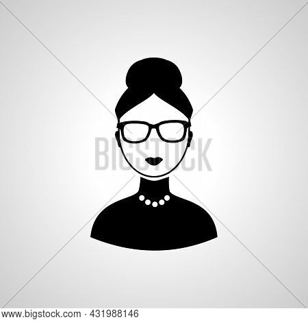 Businesswoman Avatar Picture Icon. Woman With Eyeglass  Avatar.