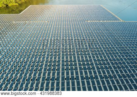 Aerial View Of Platform System On The Lake In Floating Solar Cell Panels Park Floating In A Blue Pon