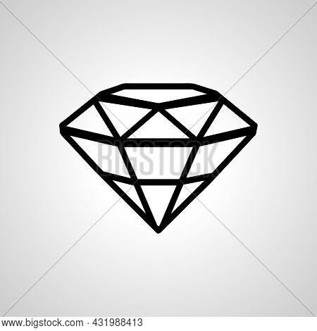 Diamond Line Icon. Diamond Isolated Vector Icon