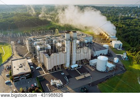Energy Thermal Power Station Roof Plant With White Smoke Cloud.