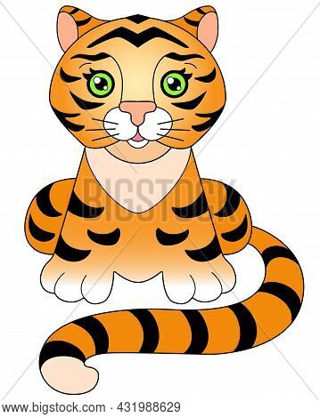 Baby Tiger With Green Eyes - A Picture For A Children's Book. Little Cute Tiger Cub Sits - Vector Fu