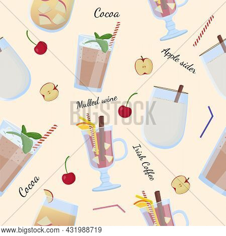 Alcohol Drinks And Cocktails Seamless Pattern. Apple Sider, Mulled Wine