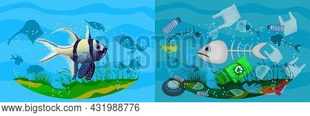 Stop Ocean Pollution Banner. Ecological Poster With Difference Between Clean And Dirty Sea. Clear Wa