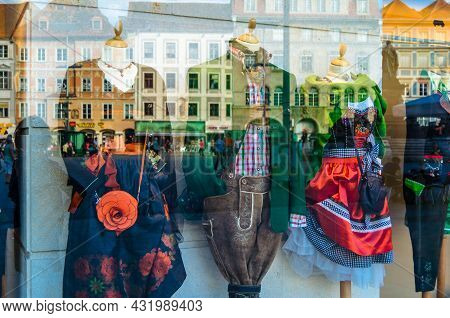 Graz, Austria - August 31, 2013: Traditional Folk Clothes Seen In A Shop Window In Graz, Austria