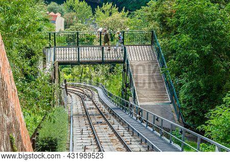 Graz, Austria - August 31, 2013: View Of The Rails Of Rhe Schlossbergbahn (english: Castle Hill Rail