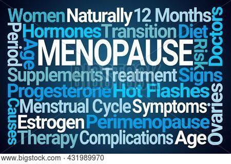 Menopause Word Cloud on Blue Background