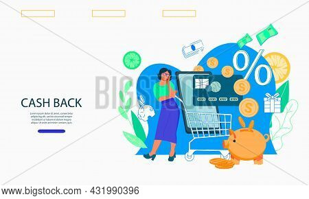 Website For Money Transfer Or Online Payments, Getting Cashback And Money Savings Economy. Landing P