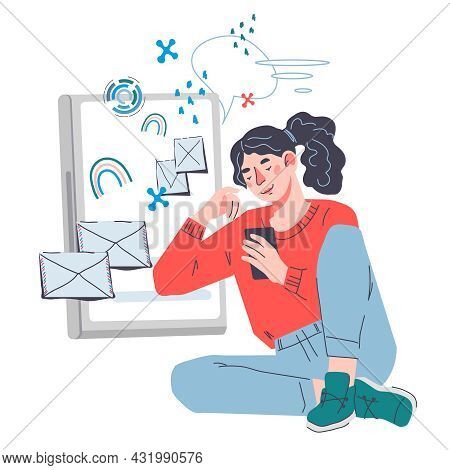 Woman Getting Mail And Sending Messages Online, Flat Cartoon Vector Illustration Isolated On White B