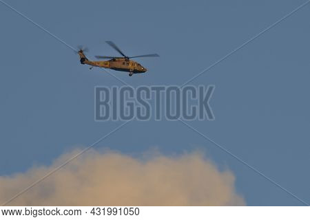 Tel Aviv, Israel - August 17th, 2021: An Israeli Airforce Black Hawk Helicopter At Flight Over A Clo