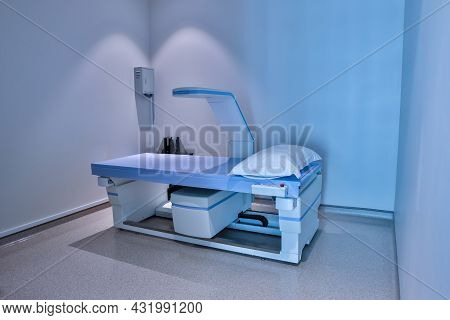 Equipment X-ray Equipment In Modern Hospital. Modern X-ray Machine And Computerized Axial Tomography