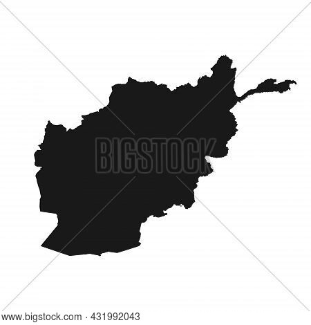 Detailed Vector Silhouette Of Afghanistan. Outline Of The State Border On A White Background